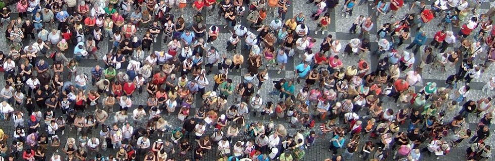 Aerial View of Tourists in European Square