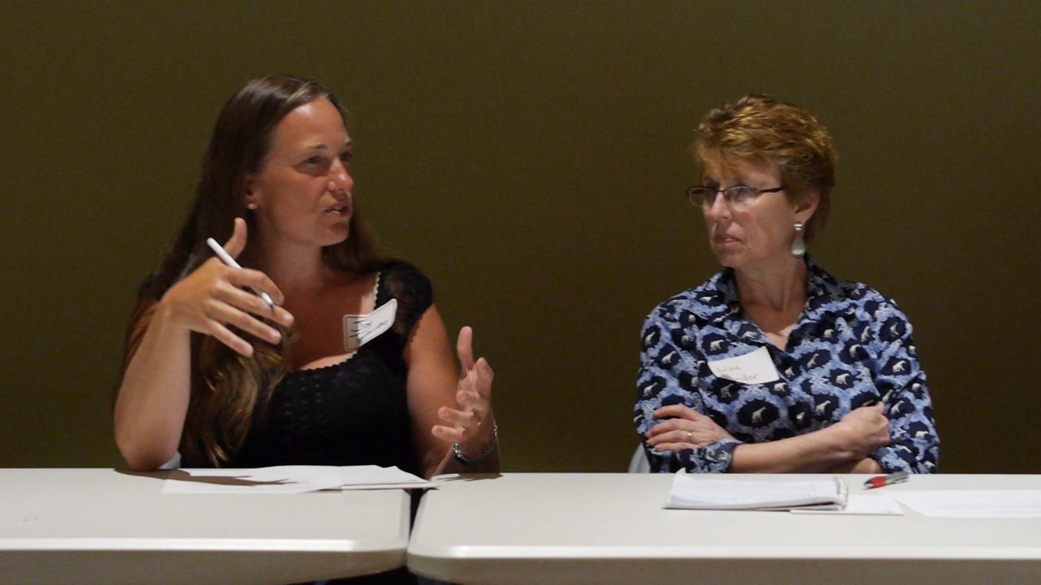 Farmers, Joy Taranto and Lisa Bender, participate on a panel of local food leaders.