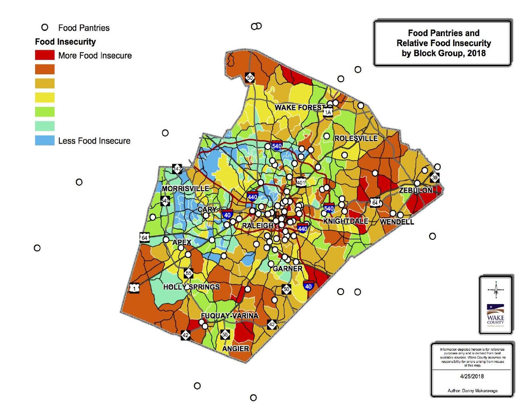 This map, generated by the Wake County Long Range Planning Department for the study, displays food insecurity by block group relative to the location of food pantries.