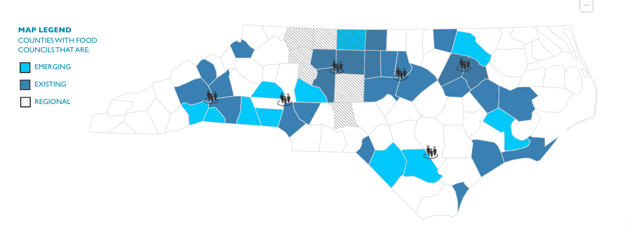Map of counties in North Carolina with Local Food Councils, including a state-level North Carolina Local Food Council and over 35 local food councils, covering 40 of the 100 counties in the state – making North Carolina second only to California in the number of food councils among all 50 states.