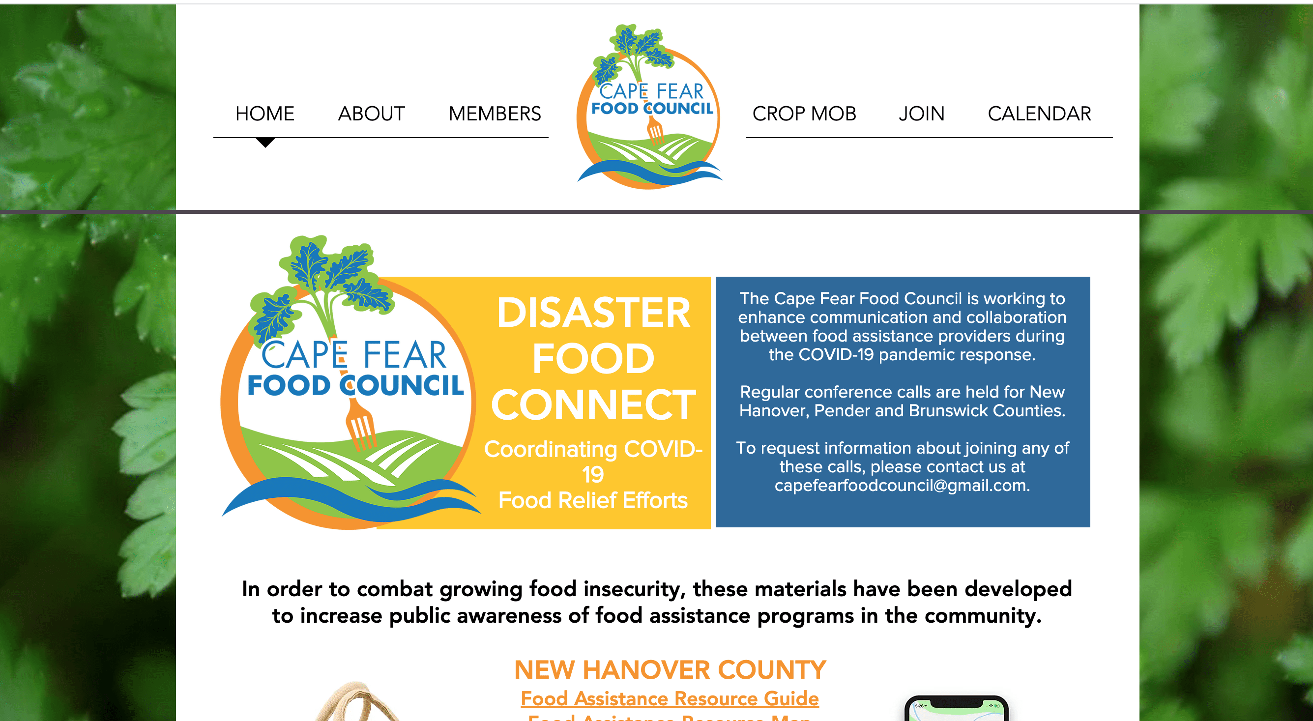 Cape Fear Food Council has created food resource lists and maps for New Hanover, Pender, and Brunswick counties.